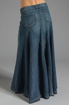 Citizens of Humanity Jeans Anja Maxi Skirt en Dizzy Denim Skirt Outfits, Denim Skirts, Diy Vetement, Modest Skirts, Girl Skirts, Vetement Fashion, Denim Ideas, Mode Boho, Jeans Rock