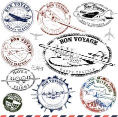 Vintage Airplanes Vintage Airplane Travel Stamps Royalty Free Stock Vector Art Illustration - Series of retro/vintage airplane travel stamps. Travel Stamp, Travel Logo, Airplane Art, Airplane Travel, Logo Voyage, Travel Sticker, Airplane Illustration, Vintage Travel Themes, Retro Vintage