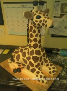 Homemade Giraffe Birthday Cake: I made this Homemade Giraffe Birthday Cake for my sister-in-law's 50th birthday party. The skeleton of the cake was a PVC pipe that I used to support the