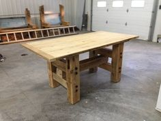 Making wood working plans work for you is easy but it requires proper planning and thought put into it. Woodworking plans can be used by either a novice or an experienced carpenter. Pine Table, Wood Table, Dining Room Table, Diy Farmhouse Table, Rustic Table, Diy Pallet Furniture, Rustic Furniture, Painted Kitchen Tables, Stenciled Table
