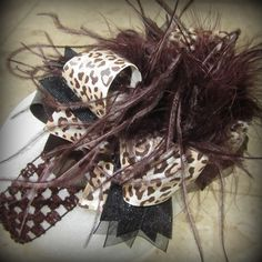 Brown Leopard Over the Top Ostrich Feather Hair Bow Boutique Pageant Party OTT
