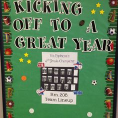 Sports Theme Class Bulletin Board add teach pictures on sports figurines