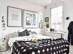 Adobrable black and white bedroom. One of the Nordic Design items in this bedroom is Pia Wallen Cross Blanket. I marvel at the pictures hanging on the wall. They create a great composition. Home Design Images, Design Ideas, Small Apartment Design, Bedroom Styles, Home Decor Bedroom, Master Bedroom, Living Room Designs, House Design, Interior Design