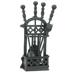 Victorian Black Fireside Companion Set Tools For Coal & Log Fires - 1145 Glass Fireplace Screen, Fireplace Tool Set, Cast Iron Fireplace, Fireplace Screens, Fireplace Design, Victorian Fireplace Tools, Log Fires, Wood Burning Fires, Log Carrier