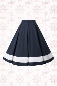 Miss Candyfloss Sailor Navy Blue Swing Skirt 122 31 14878 20150410 African Fashion Dresses, African Dress, Skater Skirt, Dress Skirt, Swing Rock, Petticoats, Swing Skirt, White Fabrics, Blue Fabric