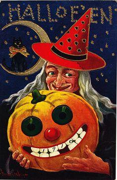 Halloween Witch Black Cat Pumpkin Magnet
