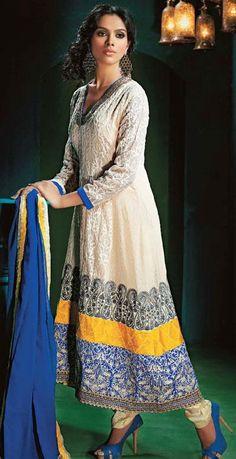 $116.16 Off White Jacquard Pakistani Style Salwar Kameez  24367