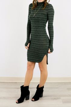 Twilight Terrace Olive Striped Mock Neck Sweater Dress With Side Slits