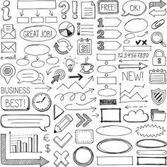 Set of doodle design elements. Set of doodle design elements. Bullet Journal Banner, Bullet Journal Notes, Bullet Journal Writing, Bullet Journal Ideas Pages, Bullet Journal Inspiration, Bullet Journal Vectors, Doodle Drawings, Doodle Art, Arrow Doodle