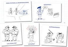 In deze cartoon kan je een aantal belangrijke waarden bemerken voor het beroep van politieagent.