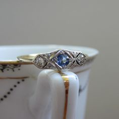 RESERVED. Art Deco Sapphire and Diamond Engagement Ring. Circa 1920s. Addy on Etsy.