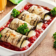 Roulades d'aubergines à la mozzarella