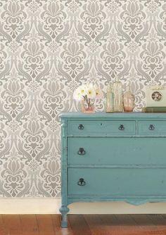 "Nouveau 18' x 20.5"" Damask Peel And Stick Wallpaper Roll"