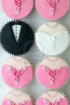 Wedding Cupcakes! The bride and groom + bridesmaid dresses! So, so CUTE!