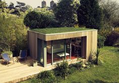 Sustainable, #prefab Garden Studio, beach chalet, allotment cabin, shed, cottage, #micro_house, or just a #tiny_home. Love the modern design with glass and yet the grass roof is very natural