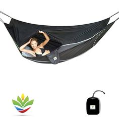 Hammock Bliss Sky Bed Bug Free - Your Insect Free Sleeping Solution That Hangs Like A Hammock But Sleeps Like A Bed - Unique Asymmetrical Design Allows For An Amazingly Flat and Comfortable Sleeping Space *** Check out this great image : Camping gear Tent Camping Beds, Best Tents For Camping, Camping And Hiking, Camping Gear, Backpacking, Beach Camping, Hiking Gear, Hammock Tent, Portable Hammock