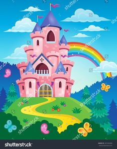 Find Pink Princess Magic Castle Rainbow stock images in HD and millions of other royalty-free stock photos, illustrations and vectors in the Shutterstock collection. Tangled Cartoon, Farm Coloring Pages, Christmas Tree Collection, Castle Illustration, Cartoon House, Island Theme, Pink Castle, School Painting, Princess Drawings