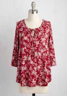 Gleeful Reveal Top in Paisley. Youre thrilled to finally debut your home renovations to your friends, and its no surprise that you choose to show off this deep red top while you're at it! #red #modcloth