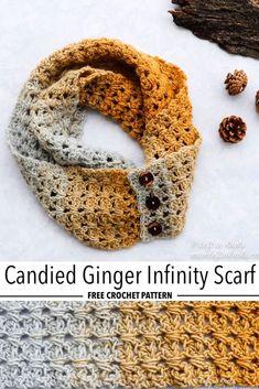 Crochet Scarves, One Skein Crochet, Free Crochet, Crochet Shawl, Crochet Infinity Scarf Pattern, Crochet Vest Pattern, Quick Crochet, Crochet Needles, Crochet Gloves