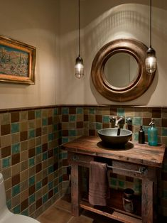 Love to do this to the little bathroom. Bathroom Powder Room Design, Pictures, Remodel, Decor and Ideas - page 59 Brown Bathroom Decor, Turquoise Bathroom, Neutral Bathroom, Small Bathroom, Bathroom Ideas, Rustic Bathrooms, Turquoise Tile, Bathroom Designs, Modern Bathroom