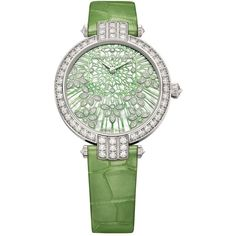 Harry Winston Premier Precious Lace Automatic 36mm Watch (€40.050) ❤ liked on Polyvore featuring jewelry, watches, white dial watches, harry winston watches, white jewelry, green dial watches and white wrist watch