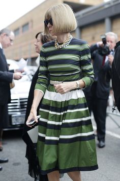 NYFW Street Style Day 8: Anna Wintour gave us a preview of one of Spring '15's biggest trends: stripes.