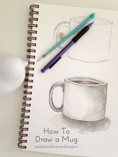 Draw a square for the mug. Keep your straight lines for the next step. Add two curved lines above and below the straig. Mug Drawing, Object Drawing, Food Drawing, Painting & Drawing, Rock Painting, Tea And Books, Drawing Exercises, Step By Step Drawing, Food Illustrations
