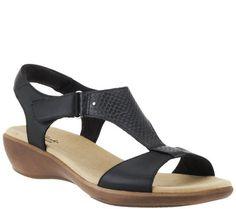 Clarks Leather T-strap Sandals w/ Adj. Strap - Roza Pine