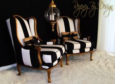 Two hand gilted French Bergères Chairs, done with an aged gold finish and upholstered in a bold black and white striped fabric. Accented with handmade vintage burlap bow cushions. These chairs were...