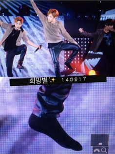 Lol J-Hope was dancing too hard that his shoe fell off XD