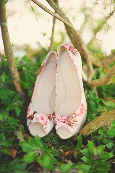 To match the theme of the affair, the bride slipped on a pair of peep-toe floral wedges. Wedding Gallery, Wedding Photos, Wedding Ideas, Wedding Renewal Vows, Floral Wedges, Bridal Shoes, Bridal Accessories, Wedding Details, Affair