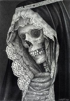 santa muerte drawing by Laurie Lipton Art Harley Davidson, Gouts Et Couleurs, Totenkopf Tattoos, Bild Tattoos, Arte Horror, Grim Reaper, Memento Mori, Skull And Bones, Skull Art