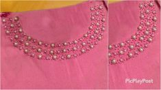 Let me know your thoughts in the comment section below iam so excited 🤩 ❤️ ❤️ Materials Cloth Rayon Pearls Sugar beads Needle size 9 Hand Embroidery Flowers, Bead Embroidery Patterns, Hand Embroidery Designs, Beaded Embroidery, Dress Neck Designs, Sleeve Designs, Blouse Designs, Churidar Neck Designs, Sugar Beads