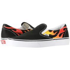 Vans Classic Slip-Ontm ((Flame) Black/Black/True White) Skate Shoes ($55) ❤ liked on Polyvore featuring shoes, sneakers, black sneakers, vans shoes, black slip on sneakers, white slip on sneakers and black slip-on shoes