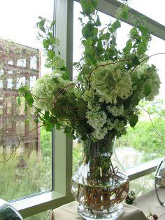 Buffet table flower arrangement.