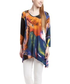Another great find on #zulily! Blue & Orange Sidetail Top #zulilyfinds