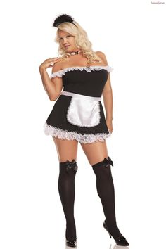 Sexy Plus Size French Maid outfit from Elegant Moments. 4 piece set in or Maid Outfit, Maid Dress, French Maid Costume, Plus Size Costume, Chica Fantasy, Sexy Halloween Costumes, Maid Halloween, Halloween Clothes, Halloween Magic