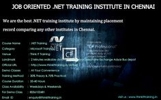 https://flic.kr/p/wBq44s   Dot Net training in Chennai   We are the best .NET preparing establishment by keeping up situation record looking at some other organizations in Chennai Our .NET Training in Chennai gives the best of best positions with phenomenal learning with ongoing tasks. Our .NET Training constantly tends with handy which will help you in organizations.  For info : www.thinkittraining.in/dotnet