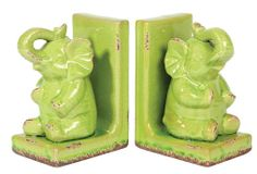 Urban Trends Collection Stoneware Sitting Trumpeting Elephant Figurine on Base Bookend Assortment of Two Distressed Gloss Finish Yellow Green
