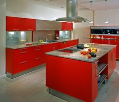 27 red kitchen ideas cabinets decor pictures - Retro Metal Kitchen Cabinets