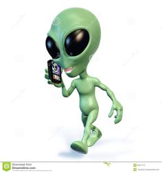 3d rendering of a green cartoon alien walking and talking on a cell phone