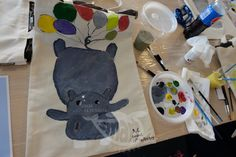 Hippopotamus Bag Painting Workshop, Hippopotamus, Bag, Atelier, Bags