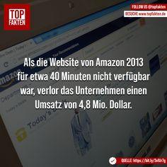 Als die Website von Amazon 2013 für etwa 40 Minuten nicht verfügbar war, verlor das Unternehmen einen Umsatz von 4,8 Mio. Dollar. Photo And Video, Videos, Instagram, Technology, Business