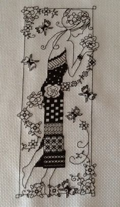 Blackwork lady with butterflies and Floresta Blackwork Patterns, Blackwork Embroidery, Cross Stitch Embroidery, Embroidery Patterns, Hand Embroidery, Cross Stitch Art, Cross Stitch Designs, Cross Stitching, Cross Stitch Patterns