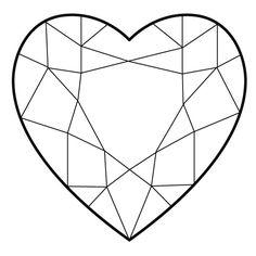 heart diamond tattoo more heart shaped diamond diamond cuts diamond . Geometric Coloring Pages, Heart Coloring Pages, Heart Shaped Diamond, Diamond Shapes, Diamond Cuts, Stained Glass Patterns, Mosaic Patterns, Diamond Illustration, Crystal Drawing
