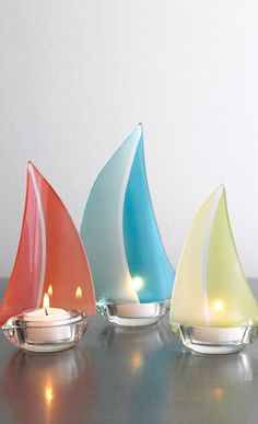 multicolor Candleholder, frosted glass, tealight candle, sailing boat,  glass candeholder