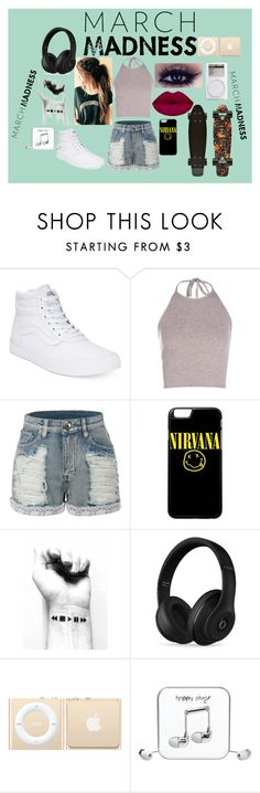 """""""Simple but cute"""" by liviahopper-1 ❤ liked on Polyvore featuring Vans, LE3NO, Beats by Dr. Dre, Happy Plugs and hightops"""
