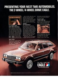 1982 AMC Eagle 2 +4 Wheel Drive -Original 13 * 10 Magazine Ad- -American Motors This is an Original Magazine Ad Size is about 13 * 10 Inches This is just one of the many AMC American Motors Corporation Ads we currently have listed on Etsy To see the rest of the collection click the link 80s Ads, Hudson Car, Sports Wagon, Car Brochure, Radio Flyer, Jeep Models, American Motors, Car Magazine, Car Posters