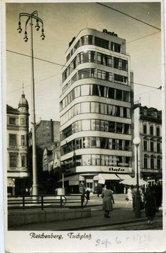 Bata shop and office block Liberec - Reichenberg CSR 1936 Germany And Prussia, Amsterdam School, Bratislava, Czech Republic, Prague, Old Photos, Modern Architecture, Places Ive Been, Egypt