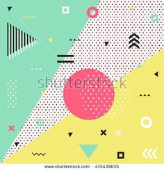 Trendy geometric elements memphis cards. Retro style texture, pattern and geometric elements. Modern abstract design poster, cover, card design. - stock vector